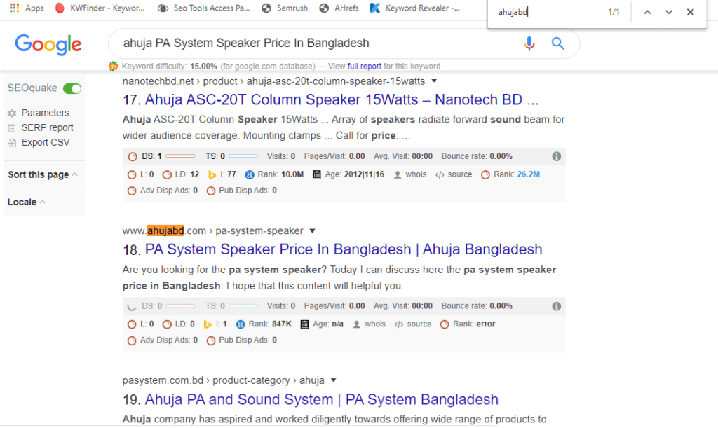 SEO Case Study of Ahuja BD by CMBD